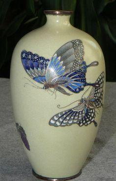 Fine Japanese Cloisonné Enamel Vase with Butterflies