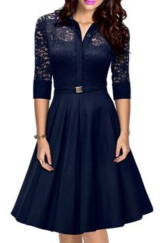 Charming Shirt Collar 3/4 Sleeve Lace Design Cut Out Midi Dress For Women