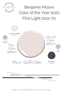 Benjamin Moore announced their color of the year for 2020 and it is fabulous! First Light Here is a color palette if you are wanting to incorporate it into your space! Visit our website and… Indoor Paint Colors, Pink Paint Colors, Interior Paint Colors, Paint Colors For Home, Room Colors, House Colors, Nursery Paint Colors, Light Pink Paint, Blush Pink Paint