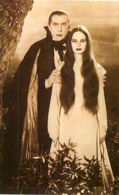 "Bela Lugosi as Count Mora in ""Mark of the Vampire"" (1935) with Carroll Borland as Luna.  Very fun.  Story's a bit dumb, but they had a lot more special effects budget than in Dracula four years earlier.  I think it's much more fun to watch.  Hard to find a copy, though. (Thx Johan)"