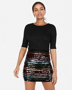 41482e31f54 Express Petite High Waisted Double Stripe Sequin Mini Skirt in multicolor  metallic