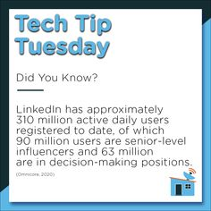 For today's #TechTipTuesday, we consider the social media platform LinkedIn. Considered one of the largest resources of B2B marketers, LinkedIn is the perfect place for you to promote your company brand and identity. 🙎‍♀️🙎‍♂️💻 #LinkedIn #SMM #digitalagency #socialmedia #marketing