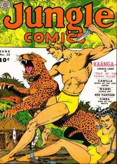 """Another Tarzan Ripoff...  """"JUNGLE COMICS 18 GOLDEN AGE COMIC  Jungle comics was popular in the 1930's because of two reasons: the story took the reader to an exotic place very much different from their own and the reader could oddly enough relate to the characters' struggle to survive. This book was popular during the depression. However, once the depression died out, so did the comic."""""""
