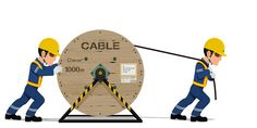 Two workers are spreading the cable on transparent background Clipart, Videos, Cable, Author, Illustrations, Cabo, Electrical Cable, Video Clip