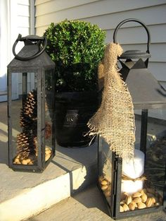 Use lanterns, candles, pinecones & burlap to decorate your porch for winter! Confessions of a Plate Addict Rustic Outdoor, Rustic Decor, Outdoor Decor, Outdoor Living, Seasonal Decor, Fall Decor, Porch Styles, Winter Porch, Birdhouse Designs