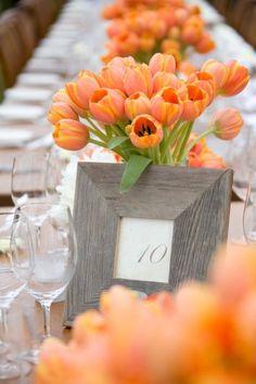 peachy wedding centerpieces