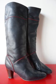 Bottes Boots Cavalieres CUIR Leather glAm RocK vINTAGE vtg 80 T 39 rOUGE nOir