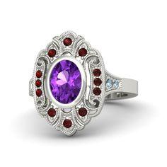 Oval Amethyst 14K White Gold Ring with Red Garnet & Aquamarine - Arya Ring | Gemvara
