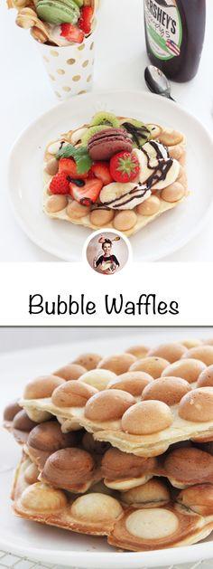 Bubble Waffles Rezept-Der Geschmack ist s�� und leicht knusprig. Das Endergebnis ist eine Eierwaffel mit kleinen spitzen, knusprigen R�ndern, die hohle, weiche, ovale Eier oder Kugeln hat. Gerade diese knusprige H�lle und der weiche Kern machen die Bubble Waffles so besonders. #bubblewaffles ##bubblewaffle #waffle #foodtrend #eggwaffles