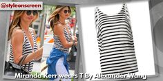 Where did Miranda Kerr get her black and white striped vest from whilst in New York July 2014? - Style on Screen