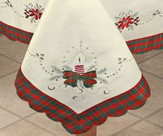 Creative Linens Holiday Christmas Embroidered Poinsettia Candle Tablecloth & 12 Napkins Ivory by Christmas Tree Napkins, Christmas Table Settings, Plaid Christmas, Christmas Holidays, Christmas Decorations, Tablecloths For Sale, Tablecloth Rental, Poinsettia, Cake Decorating Airbrush