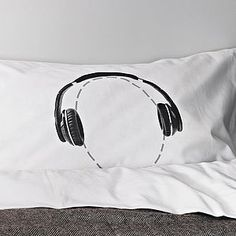 Headphones Head Case Pillowcase - soft furnishings & accessories notonthehighstreet.com