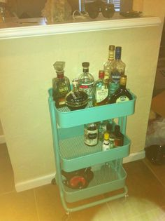 Rustled up myself a bar cart. Turned a cart from ikea into a bar cart to hold all my liquor! Great size and very good quality considering most ikea things.
