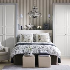Grey florals and stripes. Guest room friendly.