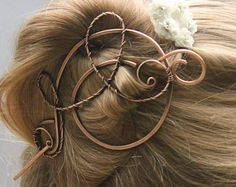 Large Hair Clip for Long Thick Hair, Copper Swirl Bun Holder, Bun Pin, Wire Wrapped Jewelry Handmade, Hair Accessories for Women