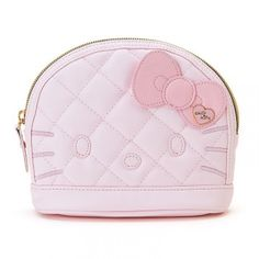 Hello Kitty Cosmetic Bag Tissue Pouch Clutch Bag PU Leather Pink Quilted Style