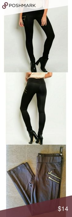 Black Faux Leather Leggings Black Faux Leather Leggings with gold pocket details. Brand new with tags. with usa Pants Leggings