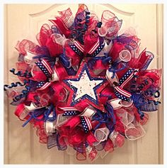 Patriotic Memorial Day or 4th Of July Deco Mesh Wreath/ Red, White and Blue Deco Mesh Wreath/Summer Deco Mesh Wreath on Etsy, $75.00