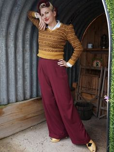 d78f7347531a 1940s Style Ladies Swing Trousers - Burgundy stretch 1950s Fashion Dresses