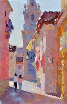 Lena Rivo's Painting Blog: The Church Square - Seixal
