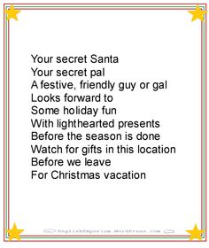 Christmas Poem for Secret Santa First Gift