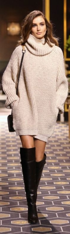 oversized sweater and over the knee boots