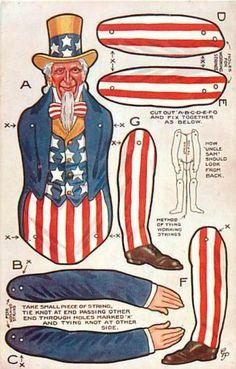 Uncle Sam Paper Doll cutout