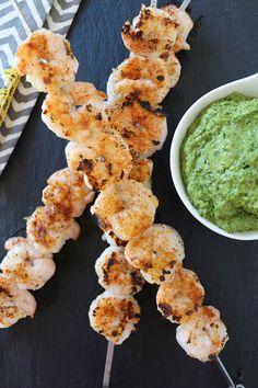 PaleOMG Easy Shrimp Skewers with Chard Cilantro Pesto