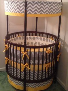 Sale Round Crib Bedding Set Yellow and Gray by butterbeansboutique
