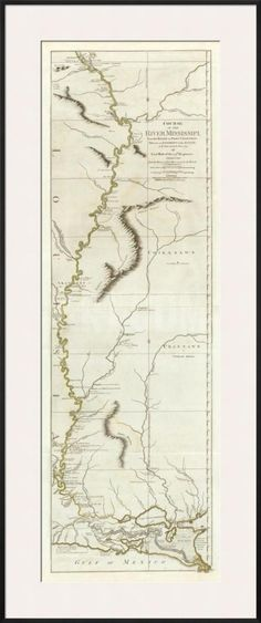 Course of the River Mississipi, from the Balise to Fort Chartres, c.1775 Framed Art Print by Lieutenant Ross at Art.com