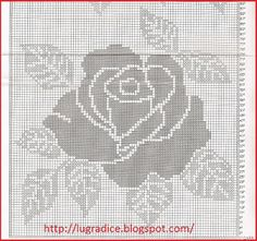Lu Gradice: Cortina Filet Crochet Charts, Crochet Diagram, Crochet Motif, Crochet Stitches, Doily Patterns, Cross Stitch Patterns, Knitting Patterns, Crochet Patterns, Crochet Curtains