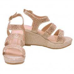 6d02d1540ca6 Bella Marie Girls Champagne Glitter Rhinestone Wedge Sandals 11-4 Kids 4  Kids