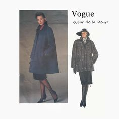 1980s Sewing Pattern - Vogue 1434 - Oscar de la Renta - Misses Swing Coat - Flared Coat - Size 8 Bust 31 1/2 - UNCUT Vogue American Designer by EightMileVintageSews on Etsy