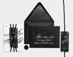 Black Letterpress and Copper Foil / Concrete Prints / Linen Tag / Black Leather Wrap / Save the Date / Invitation Suite / Anne Robin Calligraphy / Bliss & Bone