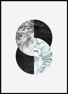 Grafisk plakat med cirkler i marmor.