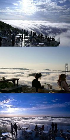 There's a resort in Japan located on a mountain peak from where you can see a sea of clouds floating below you