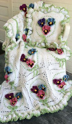 Pansy Afghan and Pillow Set ♥
