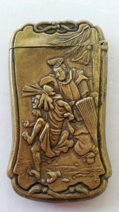 Antique Japanese Samurai Brass Match Safe Vesta Case Box holder