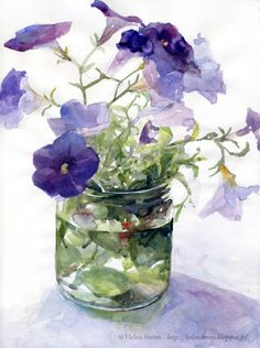Helen Ström: And why not some Petunias before end of season? - Helen Ström: And why not some Petunias before end of season?… Helen Ström: And why not some Petunias before end of season? Watercolor Pictures, Watercolor Artists, Watercolor Techniques, Watercolor And Ink, Watercolour Painting, Watercolor Flowers, Watercolors, Watercolor Tutorials, Watercolor Portraits
