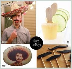 DIY Cinco de Mayo fiesta.. most likely won't ever have a cinco party but i love the mustaches!