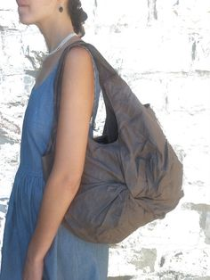 Slouchy Brown Cotton Tote Handbag // Every day by LunaBagDesigns, $35.00