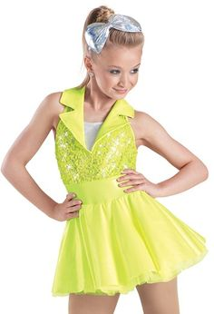 "Neon Yellow Sequined Bodice with Lapel-Style Collar and Stretch Vinyl Skirt - ""Neon Lights"""