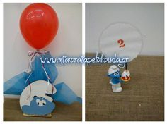 Στολισμός τραπεζιού βάπτισης με θέμα τα στρουμφ Smurfs, Collage, Baby, Wedding, Valentines Day Weddings, Collages, Collage Art, Baby Humor, Weddings