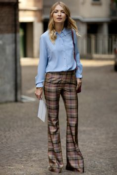 30 Ways to Reinvent Your Work Wardrobe: Sweeten up your work style à la Chiara Ferragni with a printed blouse.: Olivia Palermo's trick to amping up her pencil skirt? Cinch the waist with a statement belt.  : No jacket required — grab attention with a solid button-down and a pair of tailored, printed pants.