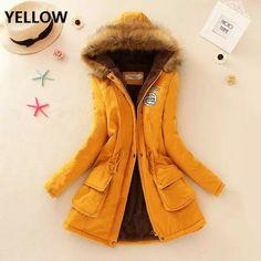 Wish | 2017 New Winter Womens Parka Casual Outwear Military Hooded Coat Winter Jacket Women Fur Coats Women Clothes Manteau Femme