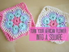 CROCHET: African flower into a square tutorial | Bella Coco - YouTube