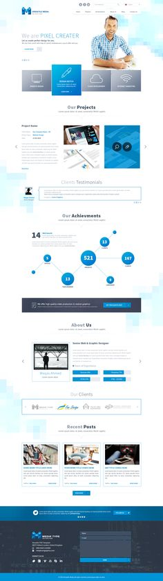 One Page Media Type PSD Template by themerboy #webdesign