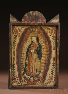 Southwest Polychrome Carved Wood Retablo, 19th century, with a separate nailed frame around Our Lady of Guadalupe, 19 1/2 x 12 1/2 in.