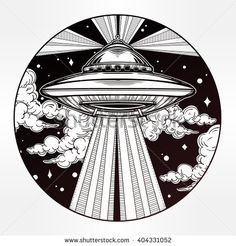 Abstract fantastic Alien Spaceship. UFO Background with flying saucer icon in the night sky. Conspiracy theory concept, tattoo art. Isolated vector illustration.