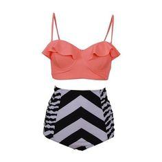 Striped High Waist Strappy Two Piece Swimwear ($25) ❤ liked on Polyvore featuring swimwear, bikinis, orange, patterned bikini, two piece bikini, print bikini, striped bikini and stripe bikini